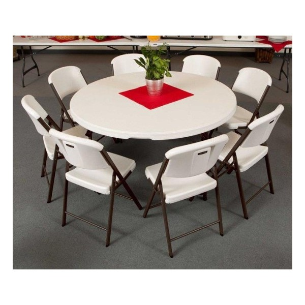 Lifetime 4 round tables 32 chairs set white - Commercial grade living room furniture ...