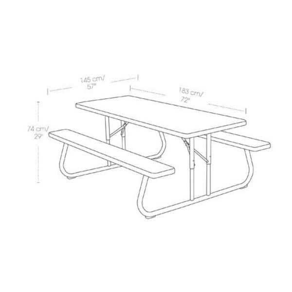 ... Lifetime 6 Foot Faux Wood Picnic Table 60105