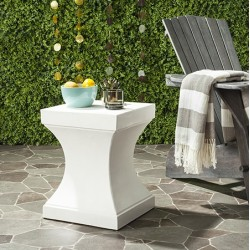 Safavieh Curby Indoor/Outdoor Modern Concrete 17.7-inch H Accent Table - Ivory (VNN1002B)