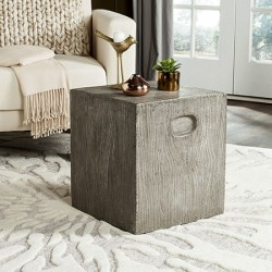 Safavieh Cube Indoor/Outdoor Modern Concrete 16.5-inch H Accent Table - Dark Grey (VNN1003A)