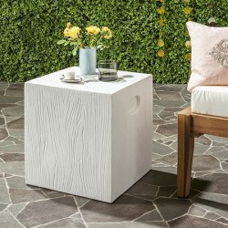 Safavieh Cube Indoor/Outdoor Modern Concrete 16.5-inch H Accent Table - Ivory (VNN1003B)