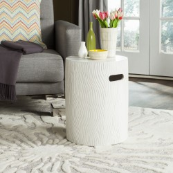 Safavieh Trunk Indoor/Outdoor Modern Concrete Round 16.5-inch H Accent Table - Ivory (VNN1004B)