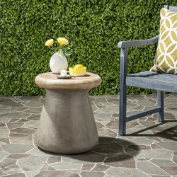 Safavieh Button Indoor/Outdoor Modern Concrete Round 18.1-inch H Accent Table-Dark Grey (VNN1005A)