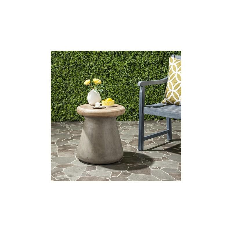 Safavieh Button Indoor/Outdoor Modern Concrete Round 18.1-inch H Accent Table-Dark Grey (VNN1005A)