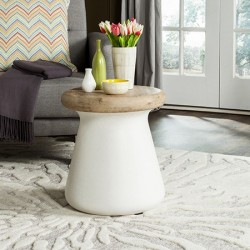 Safavieh Button Indoor/Outdoor Modern Concrete Round 18.1-inch H Accent Table - Ivory (VNN1005B)