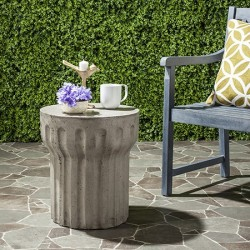 Safavieh Vesta Indoor/Outdoor Modern Concrete Round 15.3-inch Dia Accent Table - Dark Grey (VNN1009A)