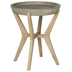 Safavieh Celeste Indoor/Outdoor Modern Concrete Round 21.2-inch H End Table - Dark Grey (VNN1012A)