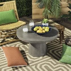 Safavieh Delfia Indoor/Outdoor Modern Concrete Round 27.56-inch Dia Coffee Table - Dark Grey (VNN1014A)