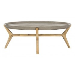 Safavieh Hadwin Indoor/Outdoor Modern Concrete Oval 31.5-inch Dia Coffee Table - Dark grey (VNN1021A)