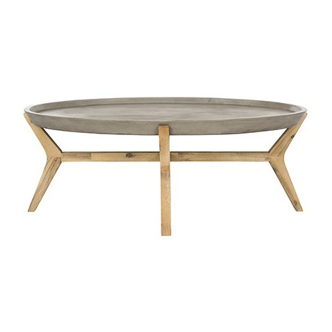 Safavieh Hadwin Indoor/Outdoor Modern Concrete Oval 31.5-inch Dia Coffee Table - Dark grey (VNN1021A)