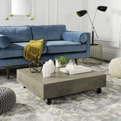 Gargon Indoor/Outdoor Modern Concrete9.84-inch H Coffee Table with Casters