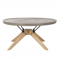 Bryson Indoor/Outdoor Modern Concrete Round 14.57-inch H Coffee Table