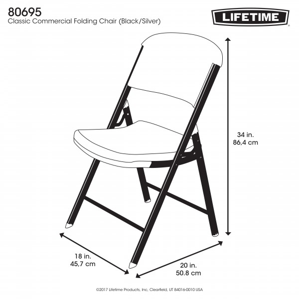 Lifetime 32 Pack Classic Folding Chairs Black W Silver