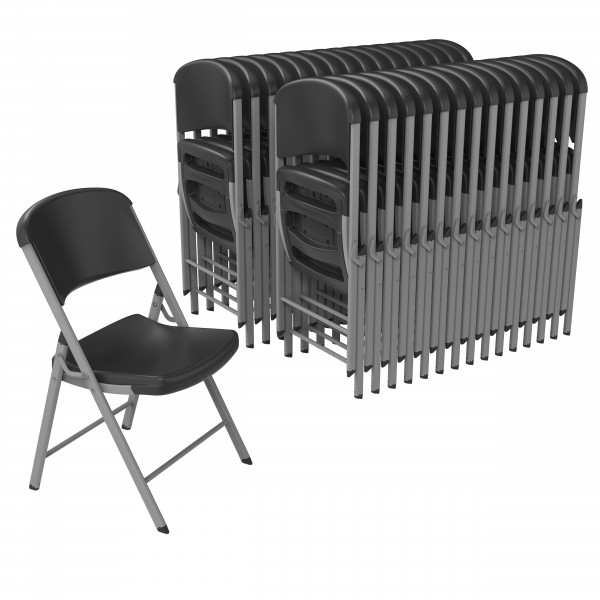 Lifetime 32 Pack Classic Folding Chair Black Silver 80695
