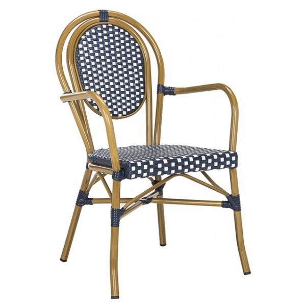 Cool Safavieh Rosen French Bistro Stacking Arm Chair Navy White Pat4014A Set2 Inzonedesignstudio Interior Chair Design Inzonedesignstudiocom