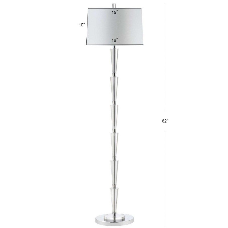 Safavieh Stellan Floor Lamp Chrome Clear Amp Off White