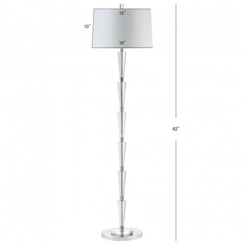 Safavieh Stellan Floor Lamp Chrome Clear Amp Off White