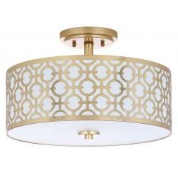 Safavieh Vera Chain-Link 3 Light 15-inch Dia Flush Mount - Gold/Off-White (FLU4001A)