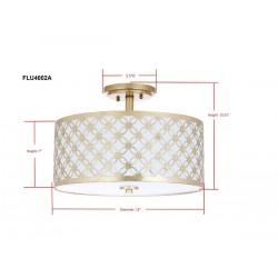 Safavieh Hutch 3 Light 16-inch Dia Flush Mount - Gold/Off-White (FLU4002A)