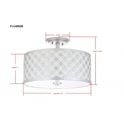 Safavieh Hutch 3 Light 16-inch Dia Flush Mount -Silver/Off-white (FLU4002B)
