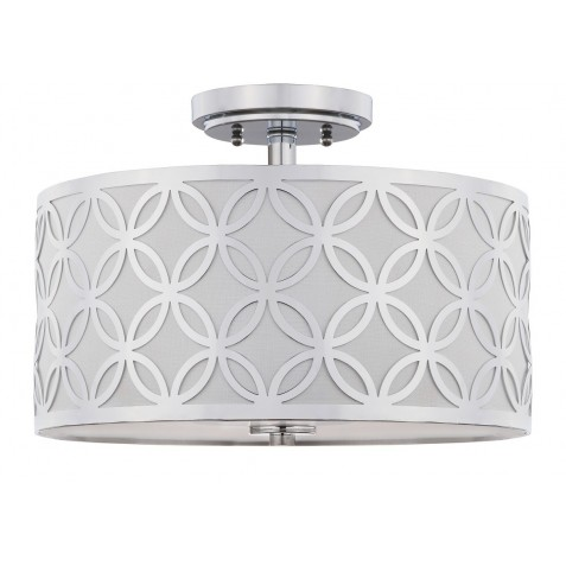 Safavieh Cecily Leaf Trellis 3 Light 15-inch Dia Flush Mount - Chrome/Off-White (FLU4003C)