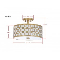 Safavieh Cedar Linked 3 Light 15-inch Dia Flush Mount - Gold/Off-White (FLU4004A)