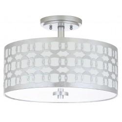 Safavieh Cedar Linked 3 Light 15-inch Dia Flush Mount - Silver/Off-White (FLU4004B)