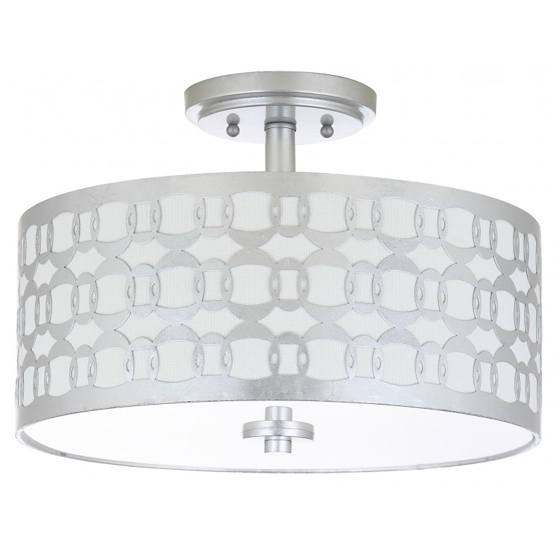 Safavieh Cedar Linked 3 Light 15-inch Dia Flush Mount - Silver/Off-White (FLU4004B)