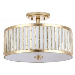 Safavieh Pierce Bamboo 3 Light 15.25-inch Dia Flush Mount - Gold/Off-White (FLU4005A)