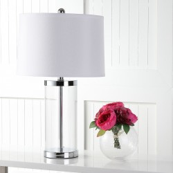 Safavieh Jeanie 25-inch H Glass Cylinder Lamp - Set of 2 - Clear/White (LIT4013A-SET2)