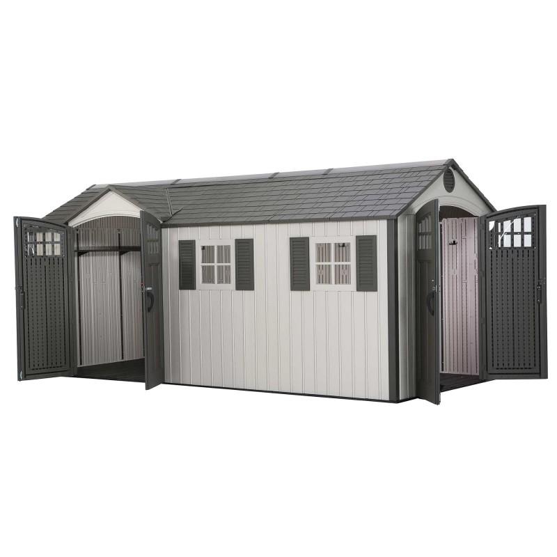 Lifetime 17.5x8 Plastic Storage Shed Kit w/ Double Doors (60213)