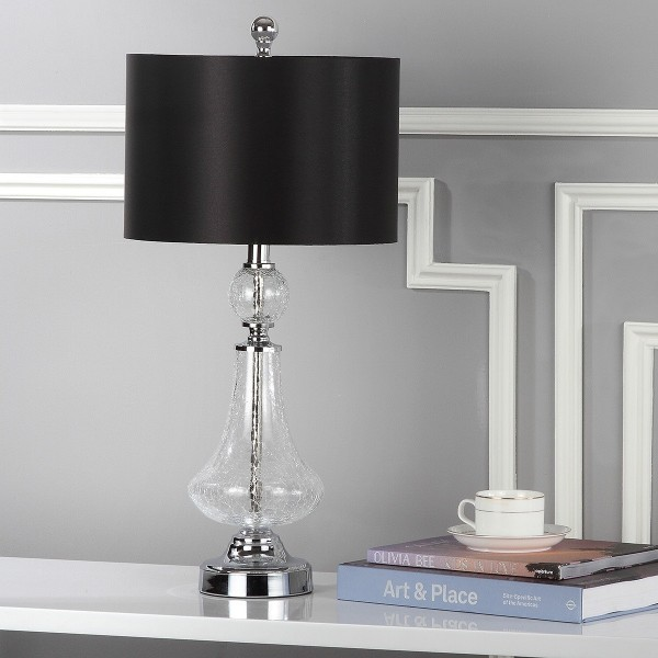 Safavieh Clear 25 5 Inch H Crackle Glass Table Lamp Black Satin