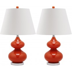 Safavieh Eva 24-inch H Double Gourd Glass Lamp Set of 2 - Blood Orange/Off-White (LIT4086D-SET2)