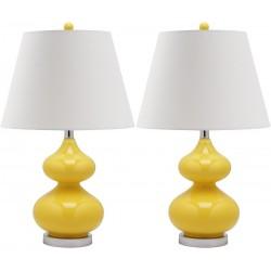 Safavieh Eva 24-inch H Double Gourd Glass Lamp Set of 2 - Yellow/Off-White (LIT4086H-SET2)