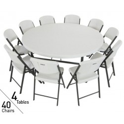 Lifetime 4 Tables / 40 Chairs - 72 in. Commercial Round Tables and Chairs Set - White (80145)