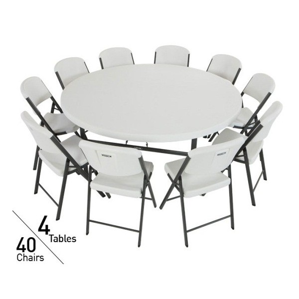 Lifetime 72 In Commercial Round Tables And Chairs Set