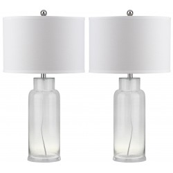Safavieh Bottle 29-Inch H Glass Table Lamp - Set of 2 - Clear/Off-white (LIT4157B-SET2)