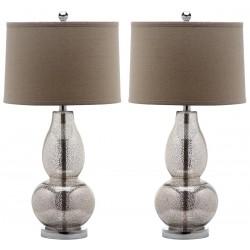 Safavieh Mercurio 28.5-Inch H Double Gourd Lamp Set of 2 - Ivory/Silver&Oatmeal (LIT4155D-SET2)