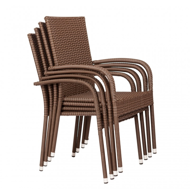 Patio Sense Morgan Outdoor Wicker Chair 4-Pack (62664)