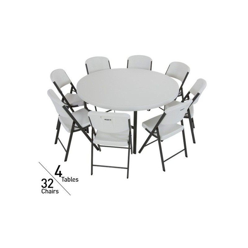 Lifetime 60 in. Commercial Round Tables and Chairs Set (White) 80146