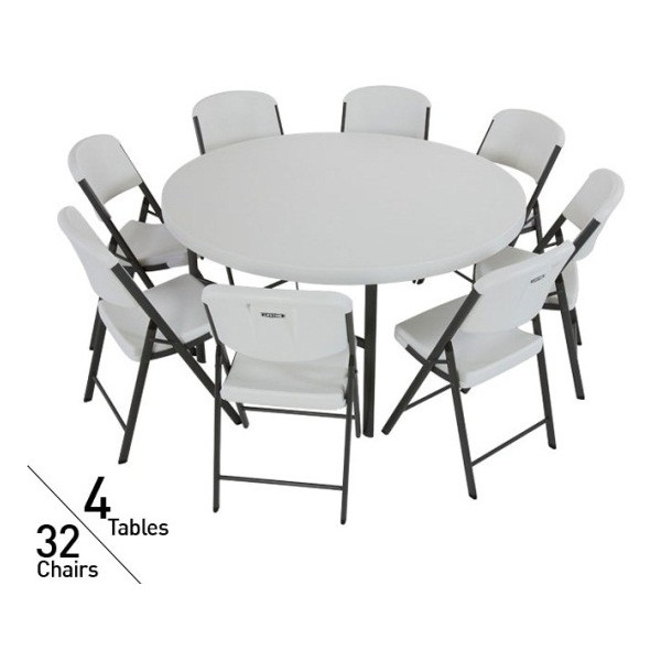 Commercial Round Tables And Chairs Set (White) 80146 ...