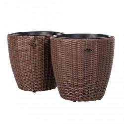 Patio Sense Tondo 2-Piece Wicker Planter Set (62780)