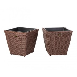 Patio Sense Piazza 2-Piece Wicker Planter Set (62781)