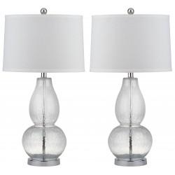 Safavieh Mercurio 28.5-Inch H Double Gourd Lamp Set of 2 - Clear/White (LIT4155A-SET2)