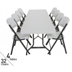 Lifetime 8 ft Rectangular Tables and Chairs Set (White) 80147