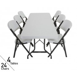 Lifetime 6 ft Rectangular Tables and Chairs Set (White) 80148