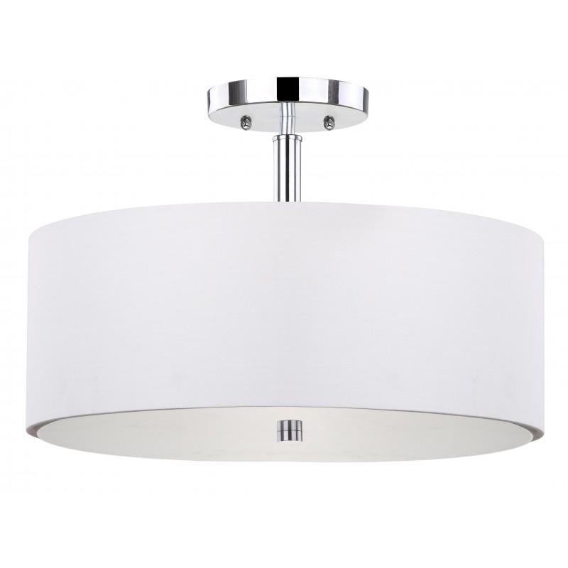 Safavieh Clara 3 Light Chrome 16-inch Dia Semi Flush Drum Light-White (LIT4192A)