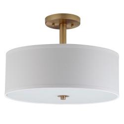 Safavieh Clara 3 Light Chrome 16-inch Dia Semi Flush Drum Light- Gold/White (LIT4192B)
