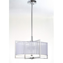 Safavieh Milano 3 Light 20 inch Dia Adjustable Pendant - Chrome/White (LIT4194B)