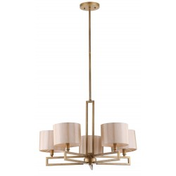 Catena 5 Light Antique Gold 25 inch Dia Adjustable Chandelier